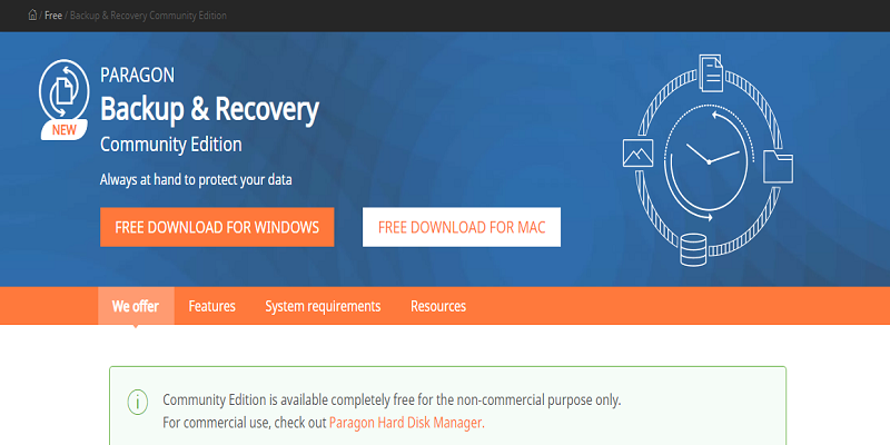 Paragon Backup & Recovery Free Software Cloning